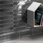Crayons - Charcoal Gloss - Elongated Hexagon Tiles - Stone3 Brisbane