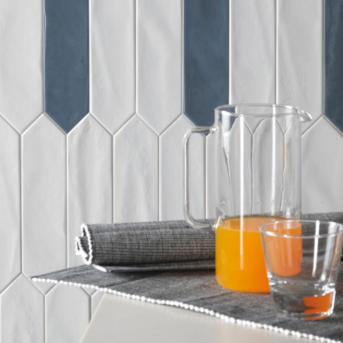 Crayons - White and Storm - Elongated Hexagon Tiles - Stone3 Brisbane