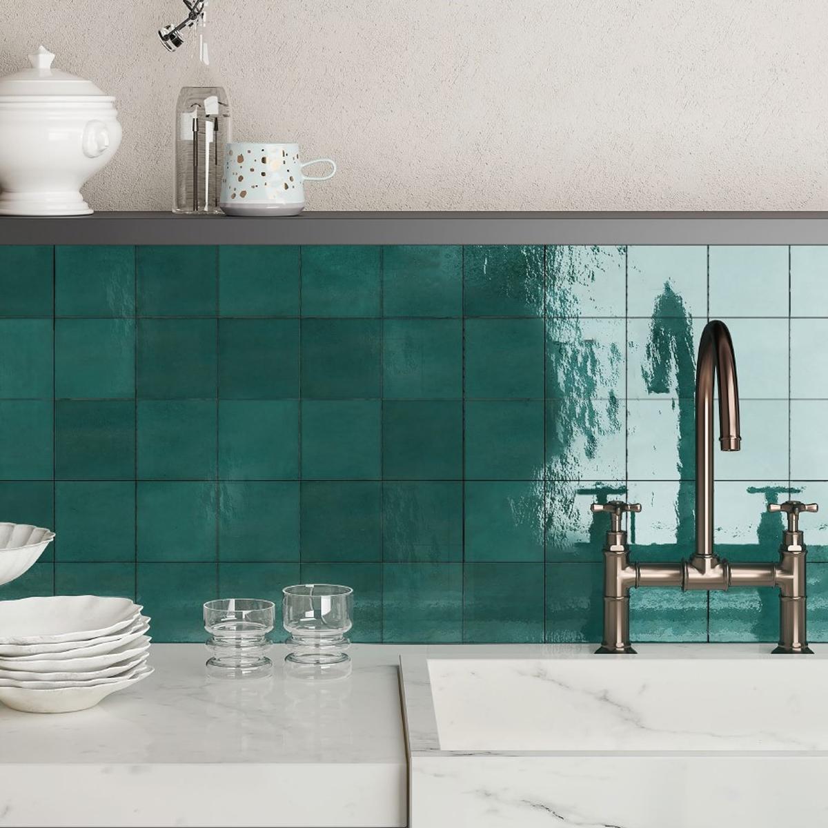 Casablanca - Turquoise - Square Feature Tiles