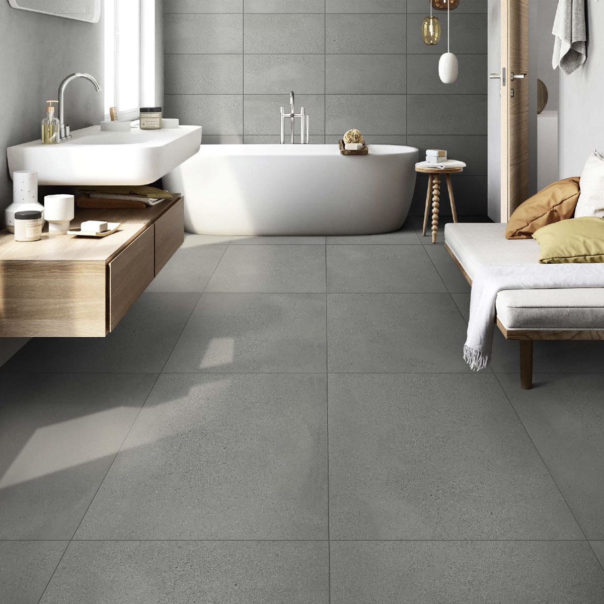 Moonstone - Pumice - Concrete Look Tiles - 300x600mm - Stone3