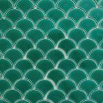 Porcelain Fans - Green - Mosaic and Feature Tiles
