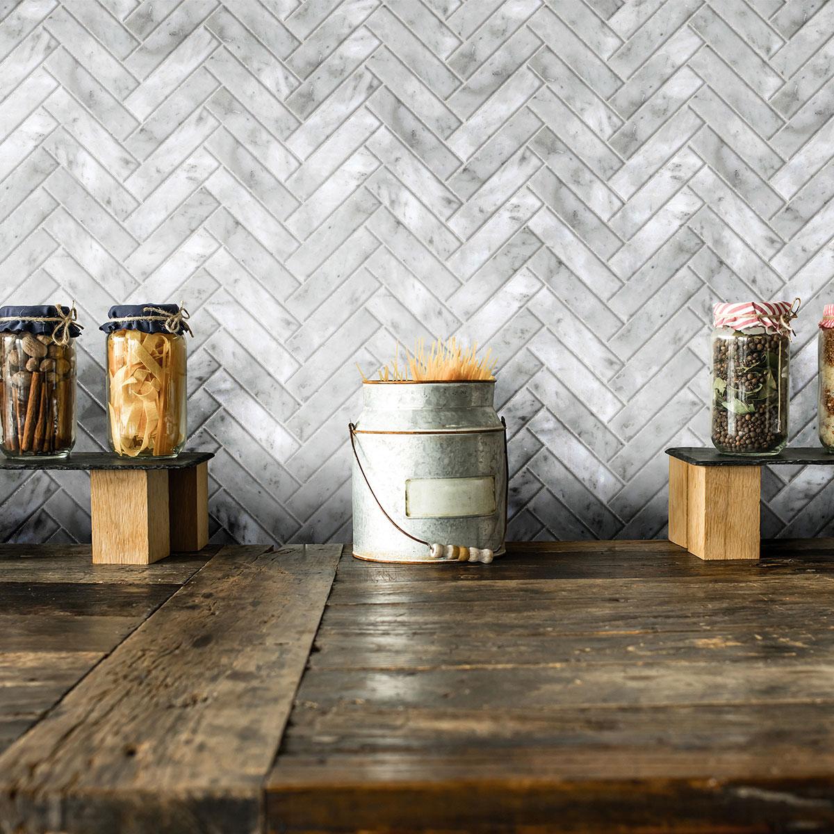 Artemis - Carrara White - Herringbone - Marble Tiles - Stone3 Brisbane