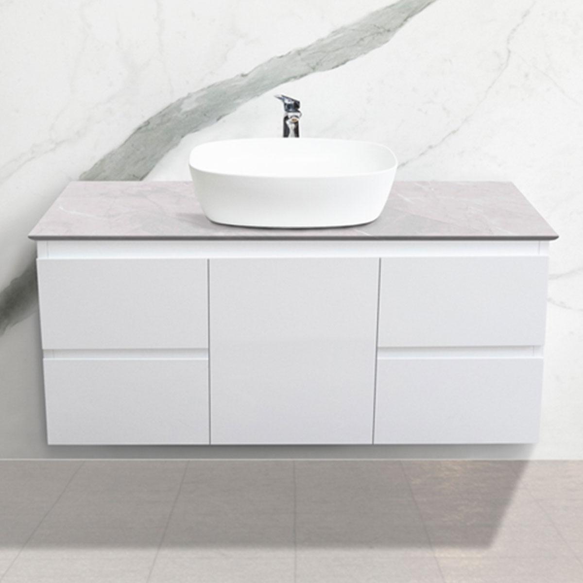 Cabinet - Vanity- 1 Door + 4 Drawers - Ice Grey - Stone3 Brisbane