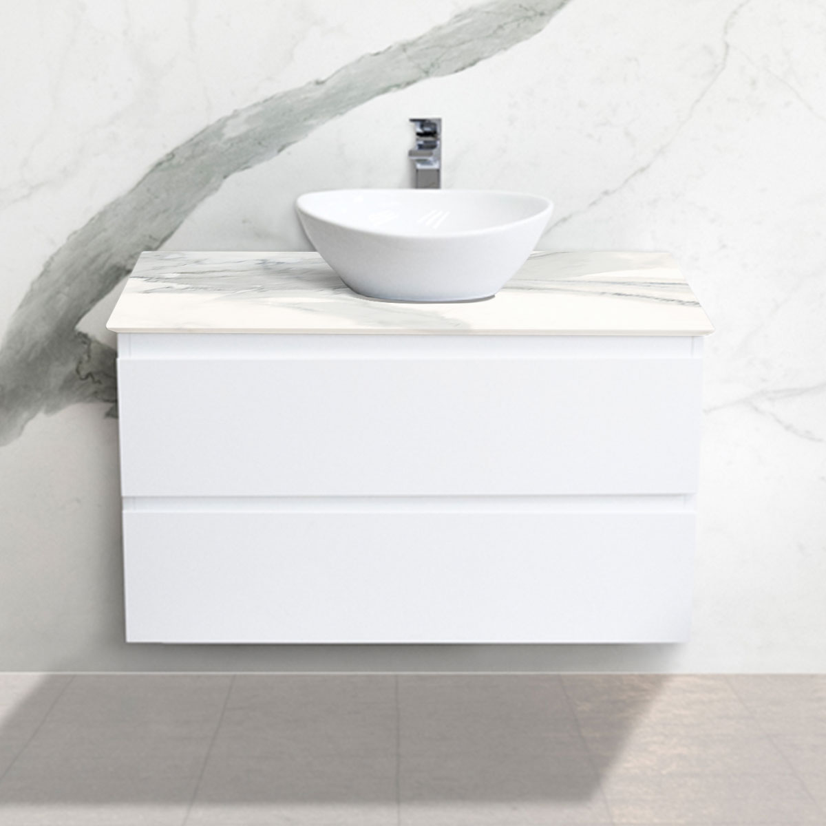 Cabinet - Vanity- 2 Drawers - Absolute - Stone3 Brisbane