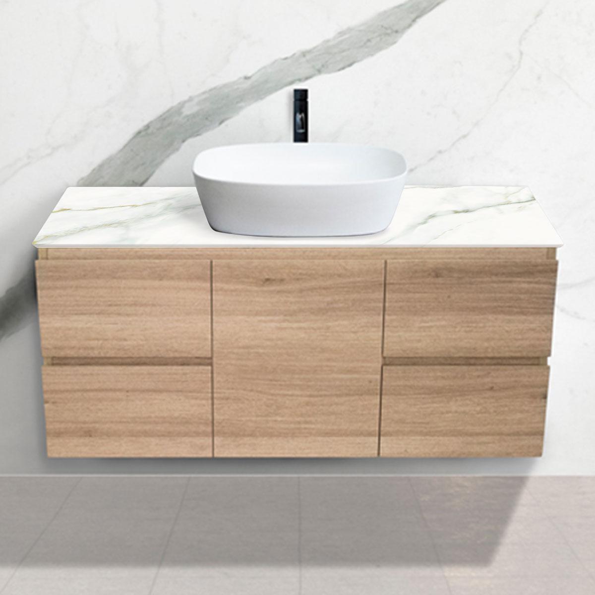 Oak Woodgrain Cabinet - Vanity- 1 Door + 4 Drawers - Calacatta Oro - Stone3 Brisbane
