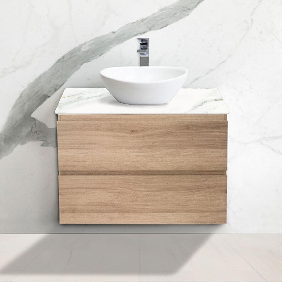 Small Oak Woodgrain Cabinet - Vanity- 2 Drawers - Calacatta Oro - Stone3 Brisbane