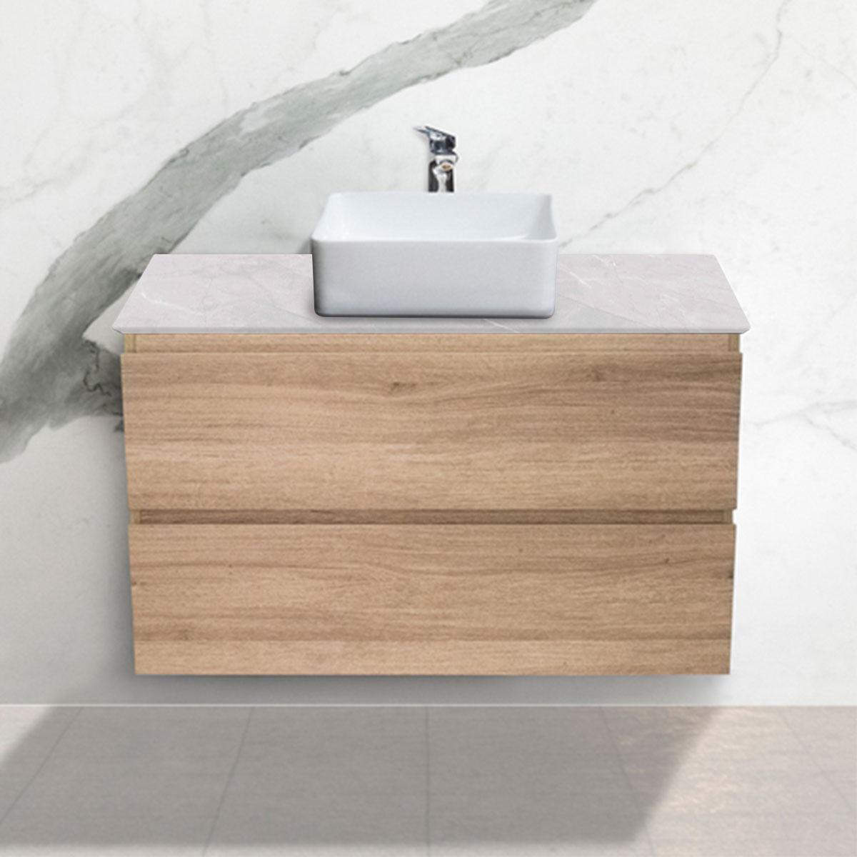 Large Oak Woodgrain Cabinet - Vanity- 2 Drawers - Ice Grey - Stone3 Brisbane