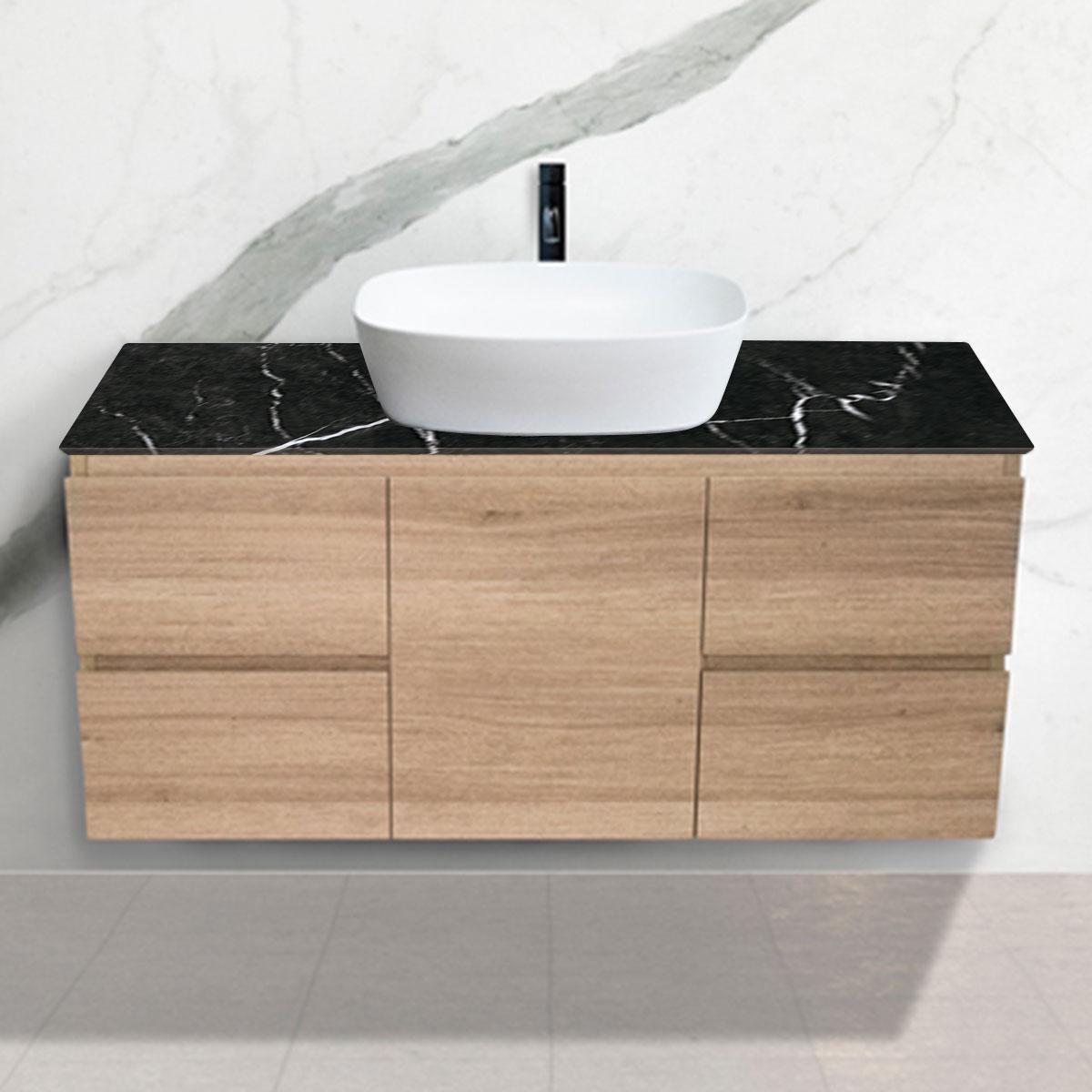 Oak Woodgrain Cabinet - Vanity- 1 Door + 4 Drawers - Nero Marquina - Stone3 Brisbane