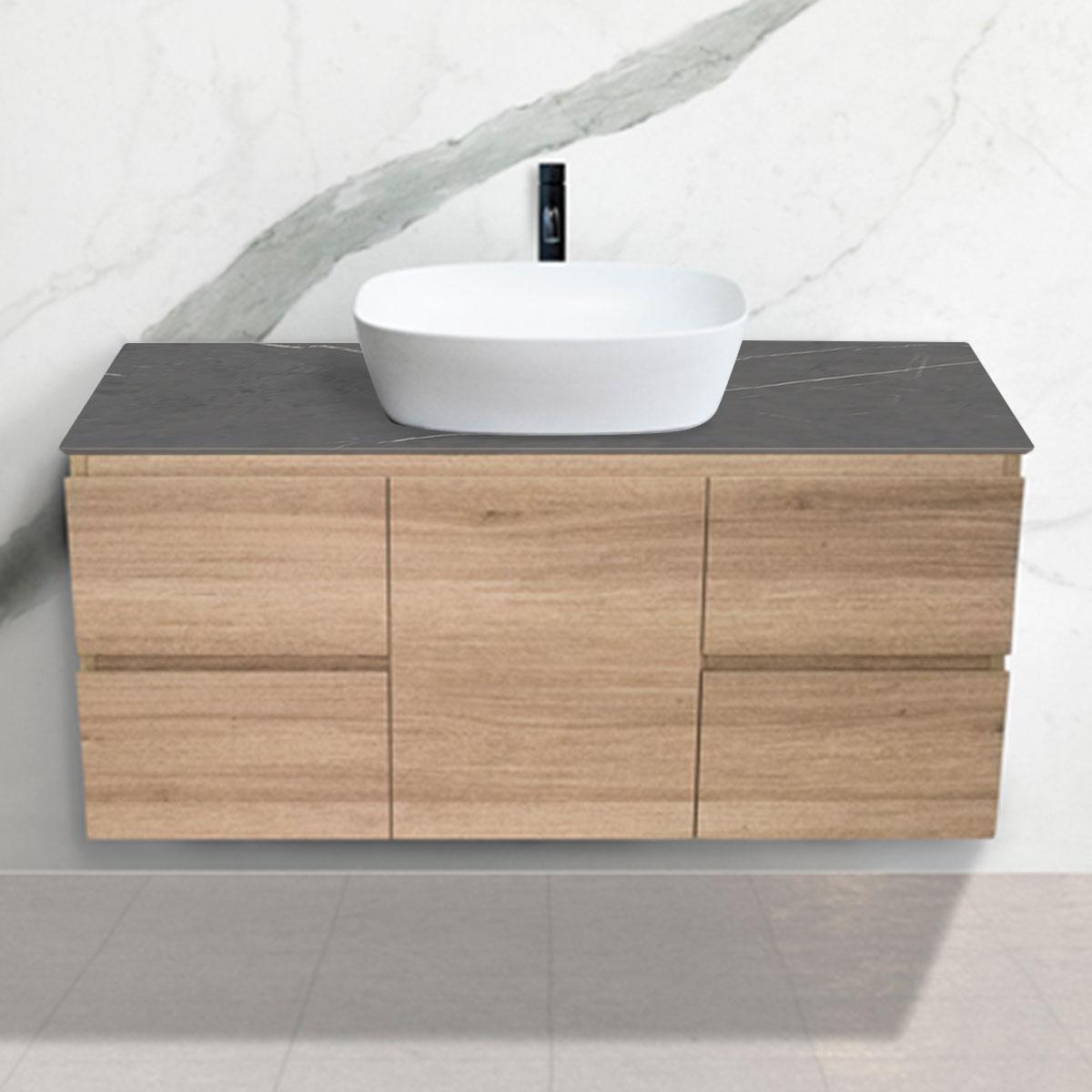 Oak Woodgrain Cabinet - Vanity- 1 Door + 4 Drawers - Pietra Grey - Stone3 Brisbane