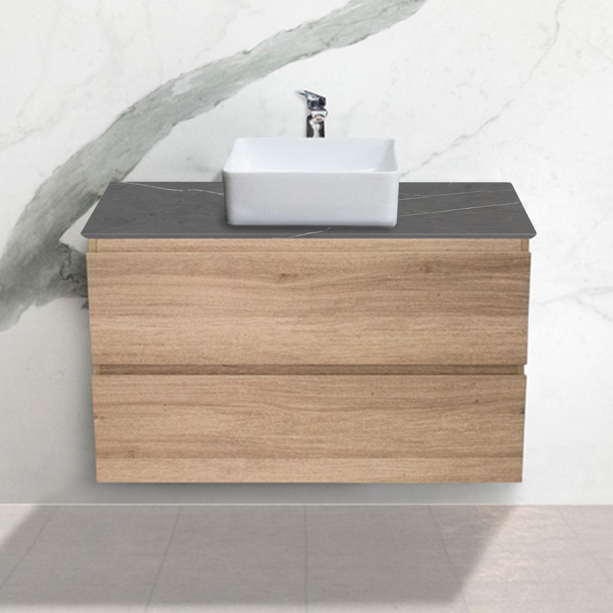 Large Oak Woodgrain Cabinet - Vanity- 2 Drawers - Pietra Grey - Stone3 Brisbane