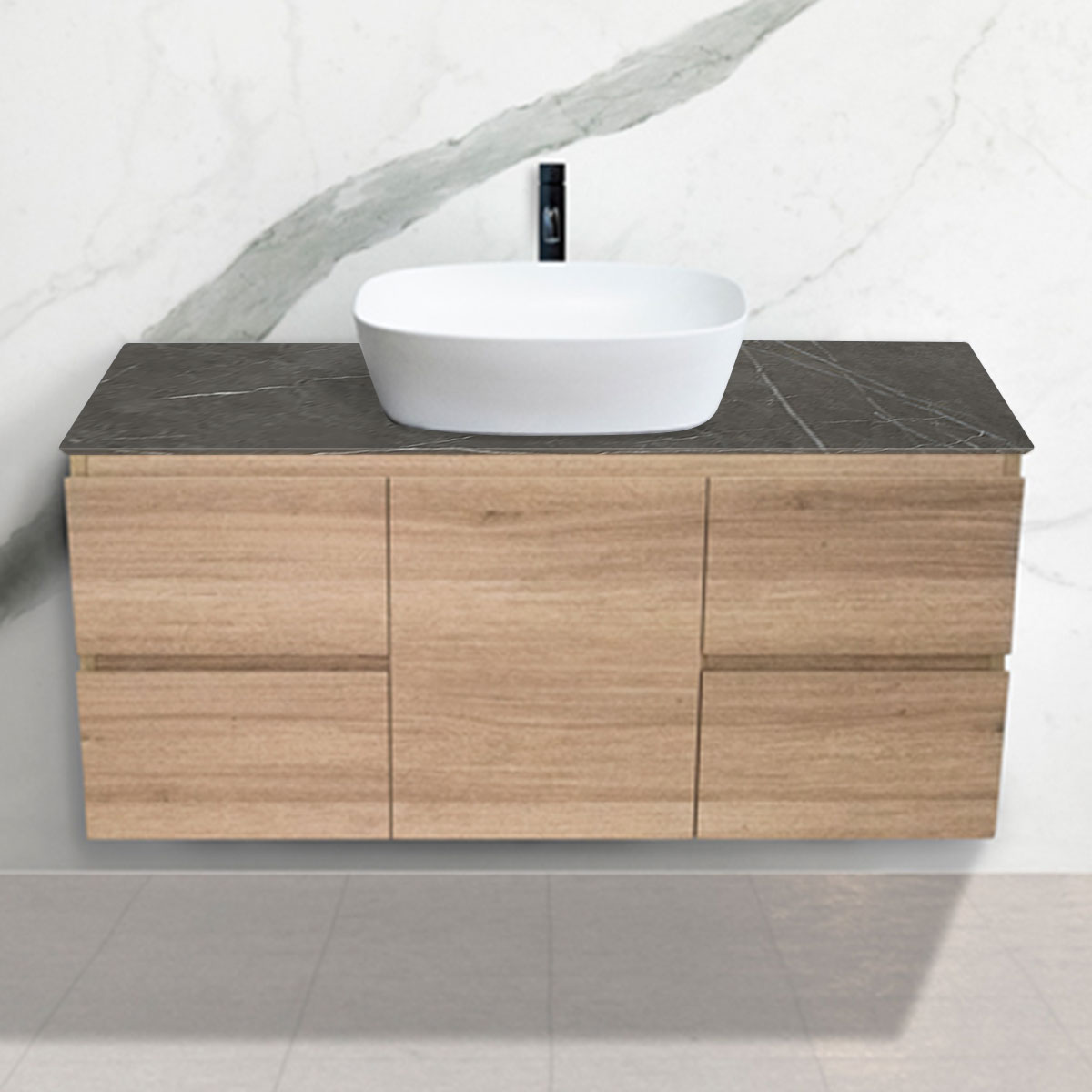 Oak Woodgrain Cabinet - Vanity- 1 Door + 4 Drawers - Pietra Grigia - Stone3 Brisbane